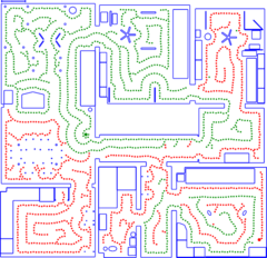 Simulated cleaning run with two robots (red and green dots, thick:starting points) in an apartment with 9 rooms and 101 sqm (blue:obstacles)