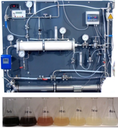The developed membrane contactor implemented in the mini plant (upper picture) and the results of cleaning waste water with ozone in increasing concentrations (lower picture)